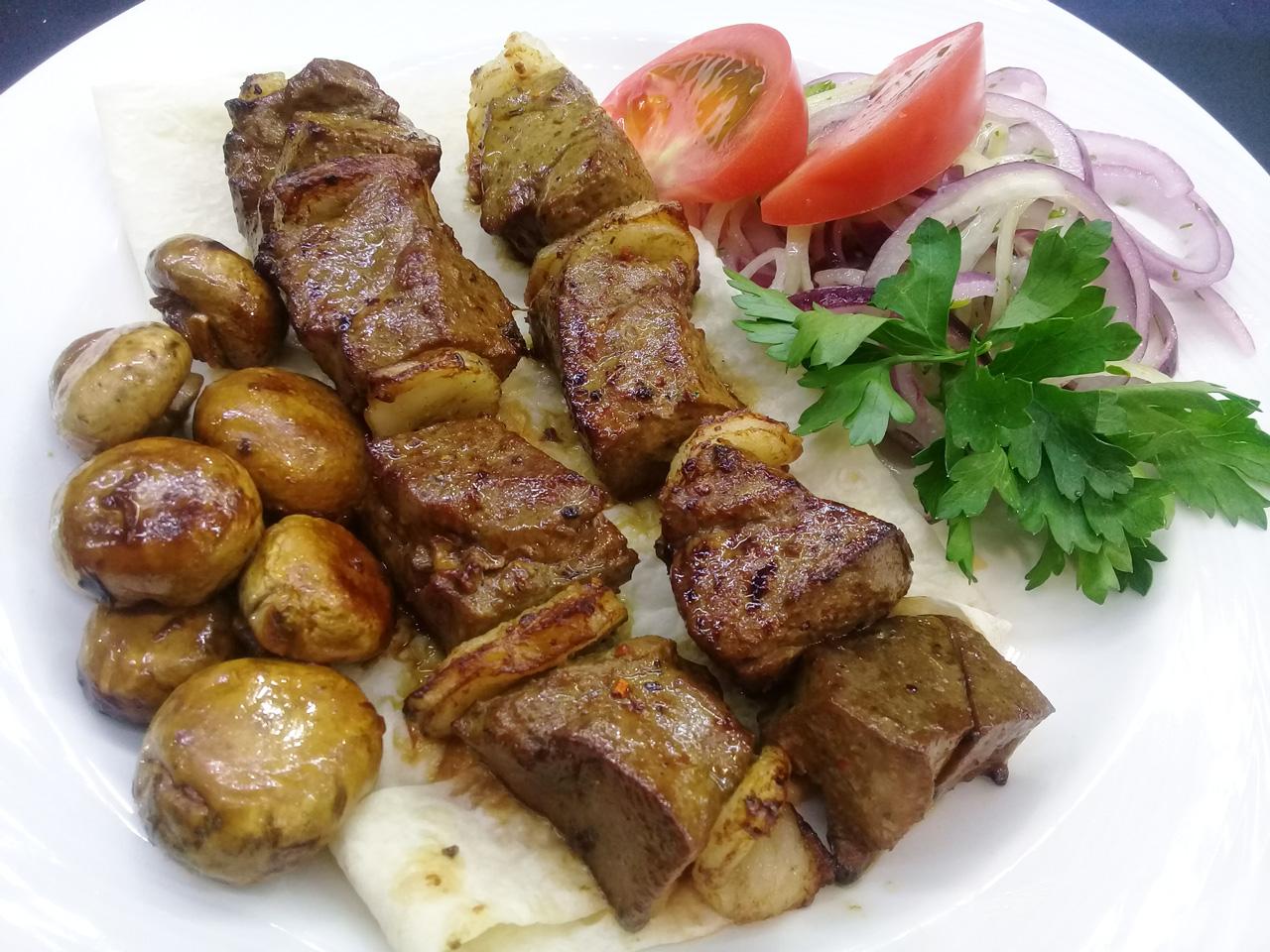 Шашлык из говяжьей печени - в ресторане Аннам Брахма в Оренбурге